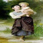 William Bouguereau (1825-1905)   Fr&#232;re et s&#339;ur[Brother and Sister]  Oil on canvas, 1887  70 3/8 x 31 3/8 inches (179 x 80 cm)  Private collection